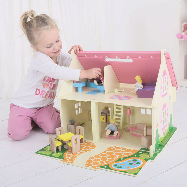 Bigjigs Toys Heritage Playset Blossom Cottage Wooden Doll House with Furniture