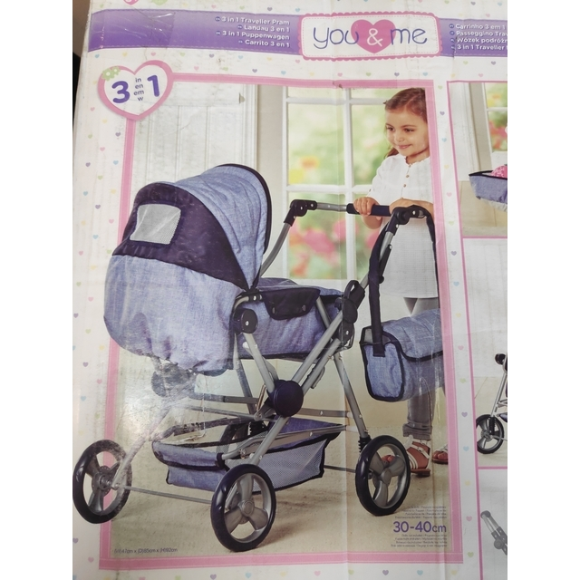 Кукла коляска You and Me 3 in 1 Traveller Pram bl