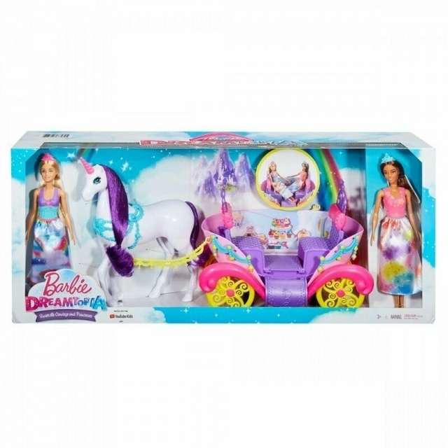 MATTEL Playset Barbie Dreamtopia Dolls and Carriage