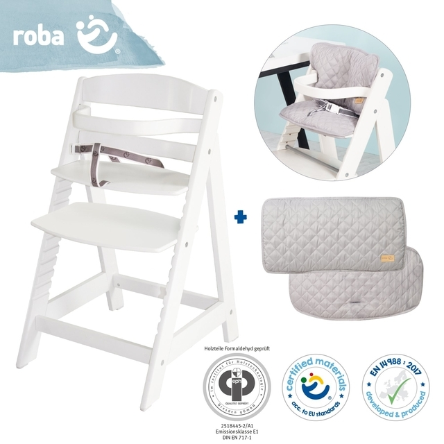 Bundle 'roba Style' growing, white stair high chair & silver-gray seat reducer