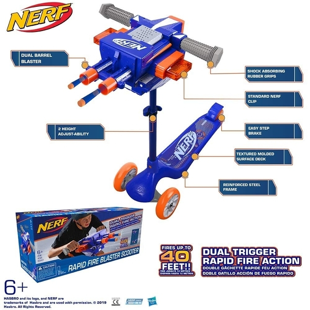 NERF Blaster Scooter Dual Trigger, 3 Wheel