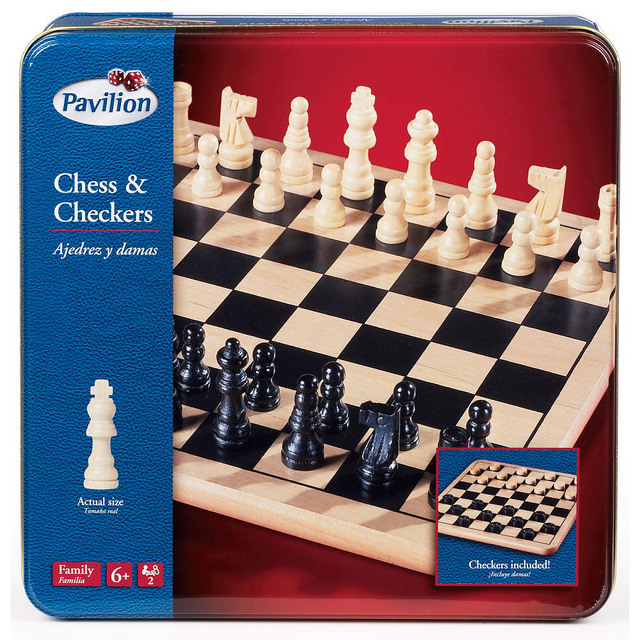 Pavilion Games Chess & Checkers Board Game Tin Set