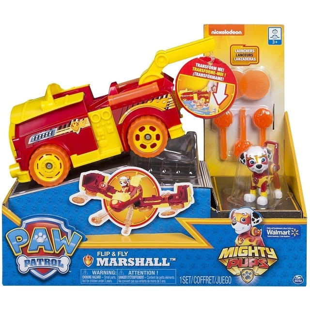 Paw Patrol Flip & Fly Marshall Mighty Pups Firetruck