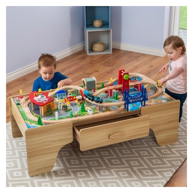 Squirrel Play 100 Pcs Wooden Train Set & Table Kids City Years Track Railway