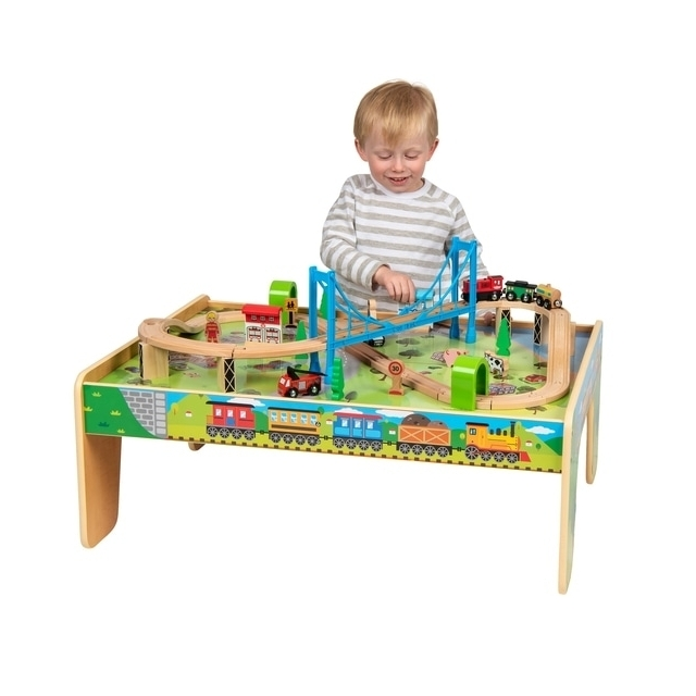 Squirrel Play 50 Pcs Wooden Train Set & Table Kids City Years Track Railway