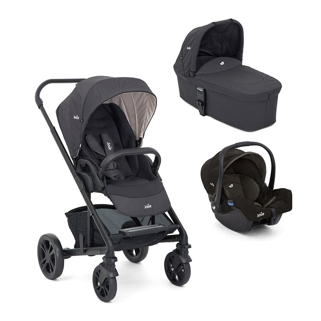 Joie Chrome Ember Stroller & Carry Cot and Joie Gemm Group 0+ Car Seat